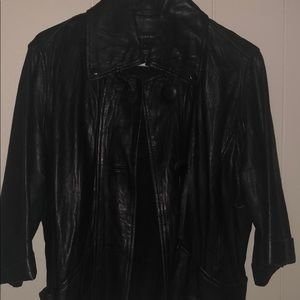 Bagatelle blk leather jacket 3/4 sleeve